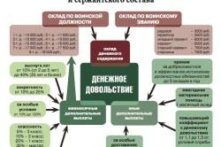 Структура денежного довольствия военнослужащих по контракту